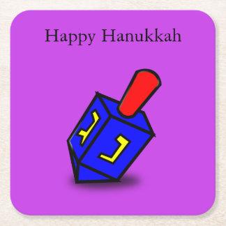 Happy Hanukkah bright dreidl purple coasters