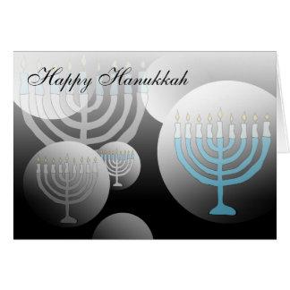 Happy Hanukkah Card Menorah Globe
