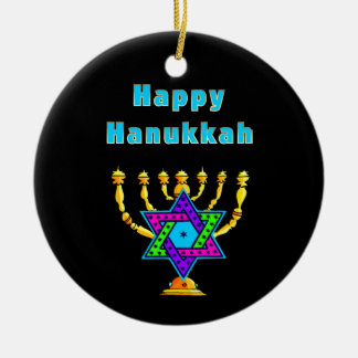 Happy Hanukkah Ceramic Ornament