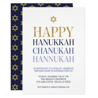 Happy Hanukkah Chanukah Party Invitation Card