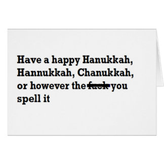happy hanukkah chanukkah spelling funny card
