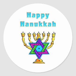Happy Hanukkah Classic Round Sticker