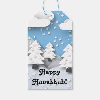 Happy Hanukkah Cute Winter Scene Holiday Gift Tags Pack Of Gift Tags