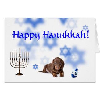 Happy Hanukkah Dachshund Card