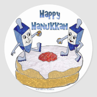 Happy Hanukkah Dancing Dreidels Jelly Doughnut Round Sticker