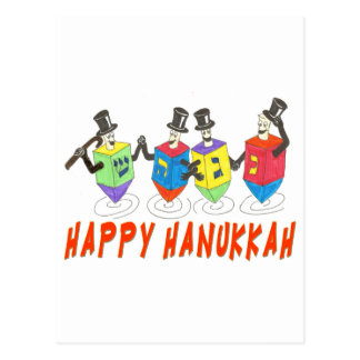 Happy Hanukkah Dancing  Dreidels Postcard