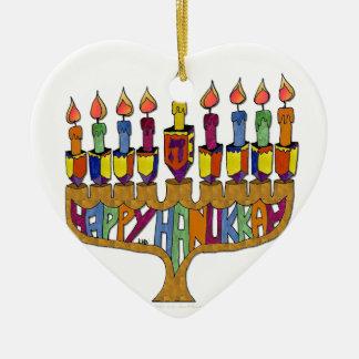 Happy Hanukkah Dreidels Menorah Ceramic Heart Ornament