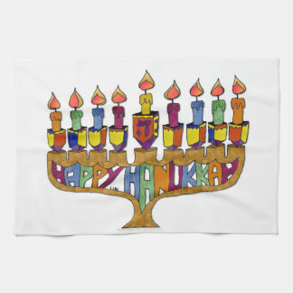 Happy Hanukkah Dreidels Menorah Kitchen Towel