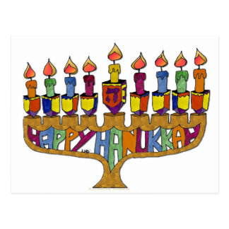 Happy Hanukkah Dreidels Menorah Postcard