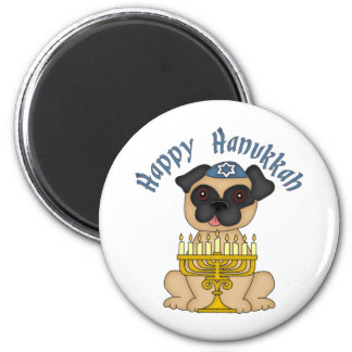 Happy Hanukkah Fawn Pug Magnet