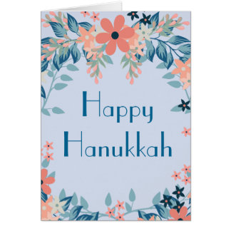 Happy Hanukkah Floral Blue and Pink Card