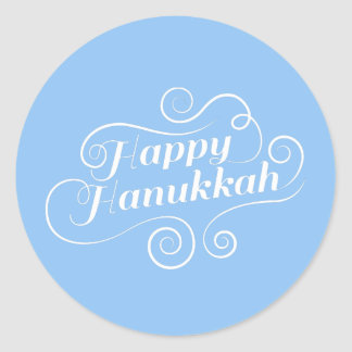 Happy Hanukkah Flourish Classic Round Sticker