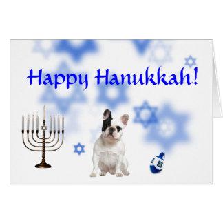 Happy Hanukkah French Bulldog Card