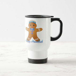 Happy Hanukkah Gingerbread Man Menorah Travel Mug