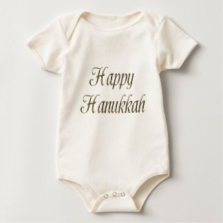Happy Hanukkah Gold Typography Elegant Chanukah Baby Bodysuit