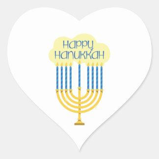 Happy Hanukkah Heart Sticker