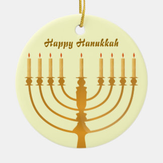 Happy Hanukkah Holiday Round Ceramic Ornament
