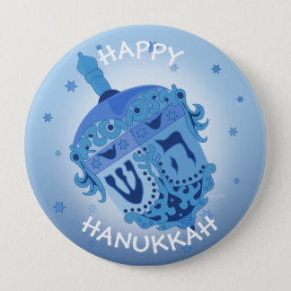 HAPPY HANUKKAH HOLIDAYS Huge, 4 Inch 4 Inch Round Button