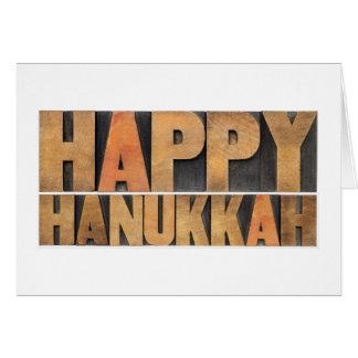 Happy Hanukkah - Isolated Words In Vintage Greeting Card