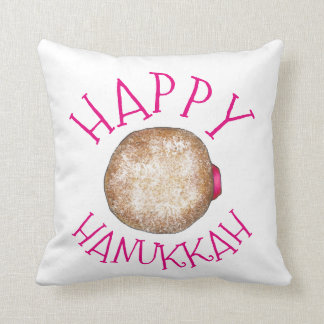 Happy Hanukkah Jelly Donut Doughnut Sufganiyot Throw Pillow
