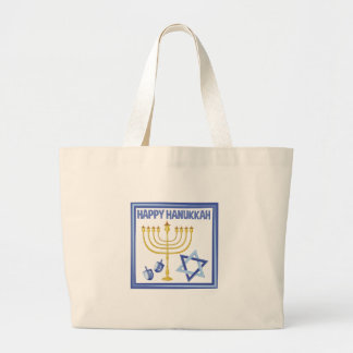 Happy Hanukkah Large Tote Bag