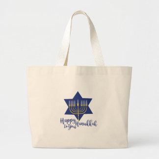 Happy Hanukkah Large Tote Bag