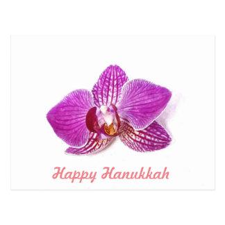 Happy Hanukkah Lilac Orchid floral watercolor art Postcard