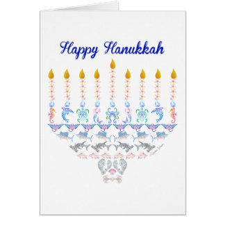 Happy Hanukkah Marine Menorah Card