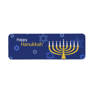 Happy Hanukkah Menorah and Stars Return Address Label