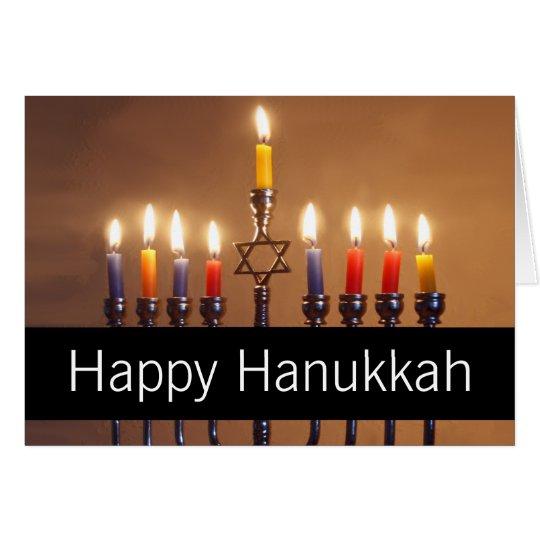 Happy Hanukkah Menorah Candles Personalized Card