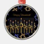 Happy Hanukkah! Menorah Custom Round Ornament