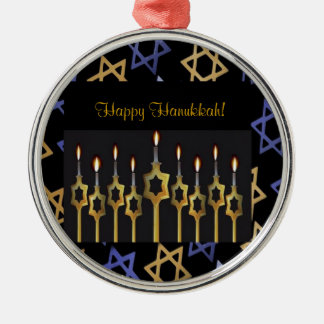 Happy Hanukkah! Menorah Custom Round Ornament