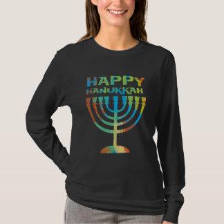 Happy Hanukkah Menorah Ladies Long Sleeve T Shirt