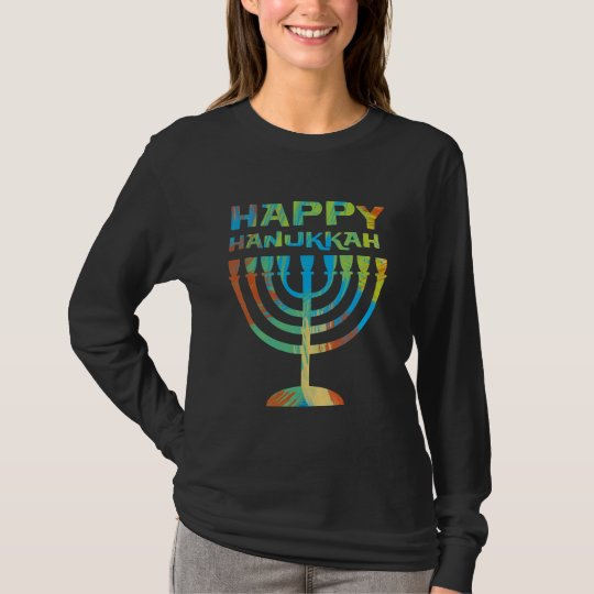 Happy Hanukkah Menorah Ladies Long Sleeve T Shirt