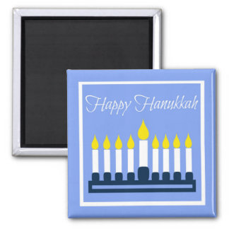 Happy Hanukkah Menorah On Blue Magnet