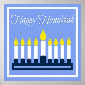 Happy Hanukkah Menorah On Blue Poster