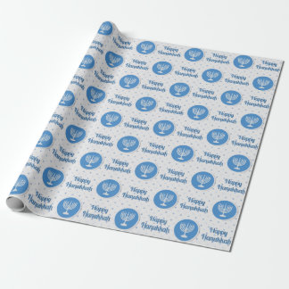 Happy Hanukkah Menorah on Polka Dots Wrapping Paper