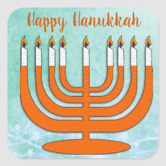 Happy Hanukkah Menorah Stickers