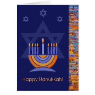 Happy Hanukkah. Menorah with Star of David Card