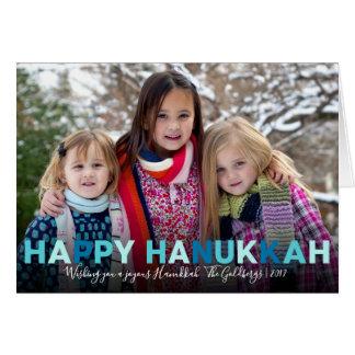 Happy Hanukkah | Modern Blue and Teal Photo Card