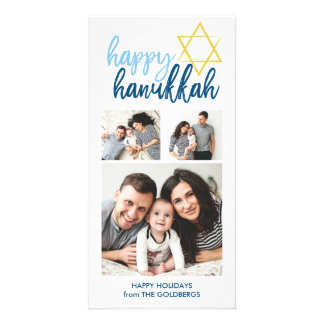 Happy Hanukkah Modern Script 3 Photo Holiday Photo Card Template