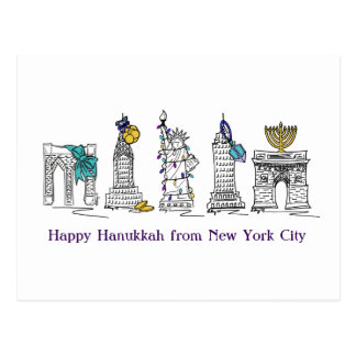 Happy Hanukkah New York City NYC Holiday Postcards
