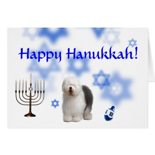 Happy Hanukkah Old english Sheep dog Greeting Cards