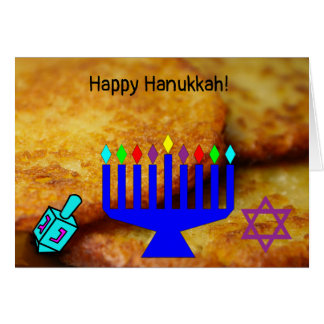 Happy Hanukkah potato pancakes menorah dreidl card