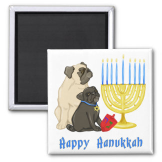 Happy Hanukkah Pug and Menorah Magnets