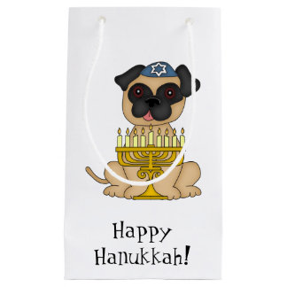 Happy Hanukkah-Pug Dog with Menorah/Customize Text Small Gift Bag