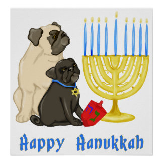Happy Hanukkah Pugs and Menorah Poster - Customize