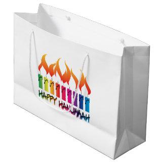 Happy Hanukkah Rainbow Menorah Large Gift Bag