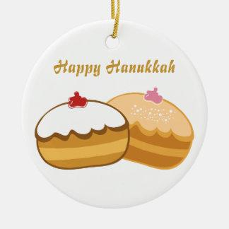 Happy Hanukkah Round Ceramic Ornament
