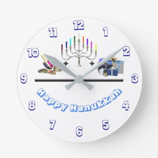 Happy Hanukkah Round Clock